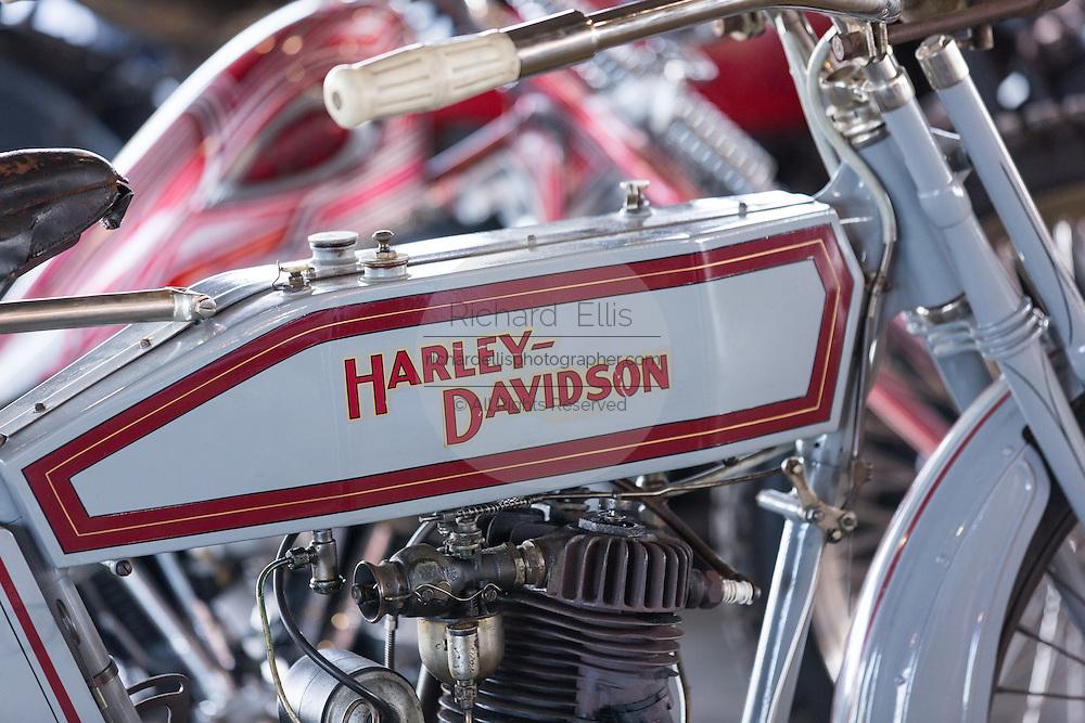 Vintage Harley Davidson 1000 cc HT motorbike on display at the annual Bike Week in Daytona Beach, Florida.