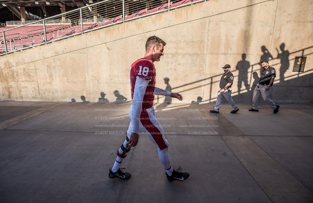 PALO ALTO, CA - OCTOBER 2:  Tanner McKee #18 of the Stanford Cardinal leaves the field after Stanford's 31-24 overtime victory over the Oregon Ducks in a Pac-12 college football game on October 2, 2021 at Stanford Stadium in Palo Alto, California.  (Photo by David Madison/Getty Images)