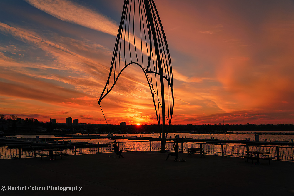 """""""Rafaga Unleashed 3""""<br /> <br /> An amazing sunset on Pier 8 in Hamilton, Ontario with the beautiful sculpture of Rafaga Unleashed in silhouette!"""