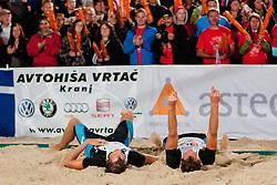 Jan and Danijel Pokersnik celebrate winning national championship at Zavarovalnica Triglav Beach Volley Open as tournament for Slovenian national championship on July 30, 2011, in Kranj, Slovenia. (Photo by Matic Klansek Velej / Sportida)