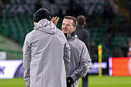 FC Copenhagen players hand out the forfeits of ear flicking during the warm up during the Europa League match between Celtic and FC Copenhagen at Celtic Park, Glasgow, Scotland on 27 February 2020.