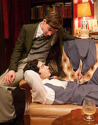 First Episode by Terence Rattigan<br /> at the Jermyn Street Theatre, London, Great Britain <br /> press photocall<br /> 31st October 2014 <br /> <br /> Adam Buchanan as Bertie<br /> Gavin Fowler as Tony <br /> Harry Gostelow as James <br /> Alex Hope as Philip<br /> Molly Hanson as Joan <br /> Philip Labey as David<br /> Caroline Langrishe as Margot<br /> <br /> Photograph by Elliott Franks <br /> Image licensed to Elliott Franks Photography Services