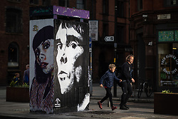 © Licensed to London News Pictures . 11/05/2019. Manchester , UK . A mural depicting musician Ian Brown has been painted by artist John Culshaw , opposite Fred Aldous art supplies in Stephenson Square in Manchester's Northern Quarter . Photo credit : Joel Goodman/LNP