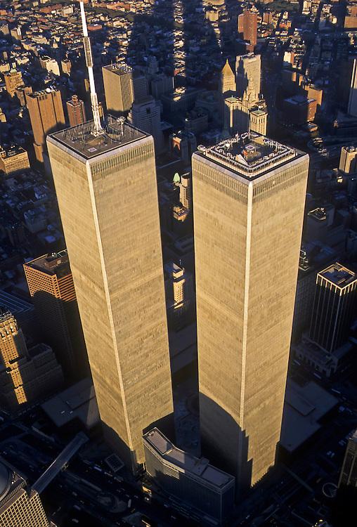 Looking Down, Aerial, Manhattan, New York City, New York, USA Twin Towers, World Trade Center, designed by Minoru Yamasaki, International Style II, photographed 2000