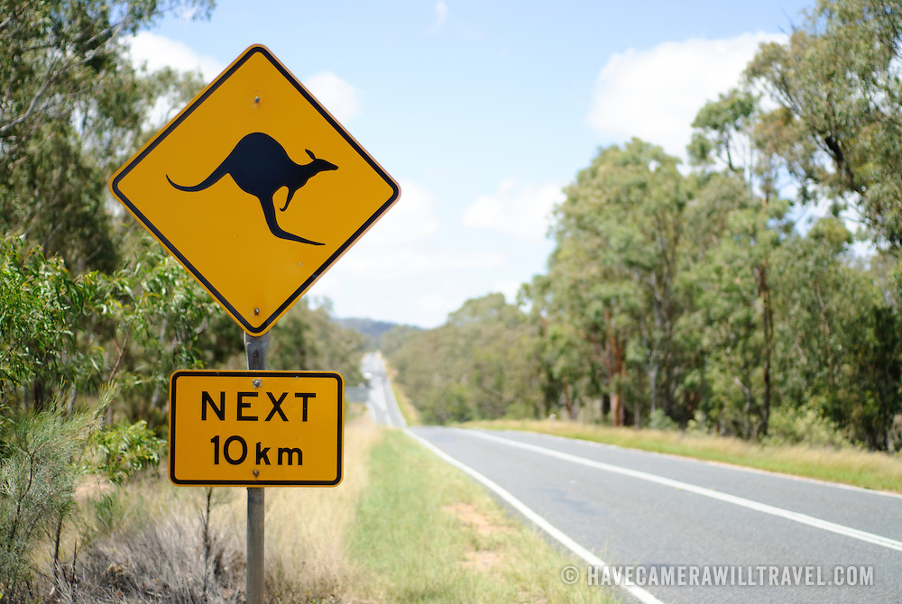 Kangaroo sign on the road in the outback