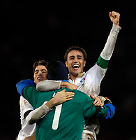 Photo: Jed Wee/Sportsbeat Images.<br /> Scotland v Italy. UEFA European Championships Qualifying. 17/11/2007.<br /> <br /> Italy captain Fabio Cannavaro (R) celebrates with Andrea Barzagli (L) and goalkeeper Gianluigi Buffon at the final whistle.