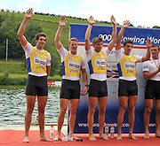 Lucerne, SWITZERLAND,  GBR M4X Silver  Medalist, bow, Charles COUSINS, Marcus BATEMAN, Bill LUCAS and Sam TOWNSEND. Third round of the  2009 FISA World Cup,  Rotsee Regatta Course, Sunday  12/07/2009 [Mandatory Credit Peter Spurrier/ Intersport Images].