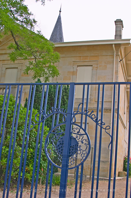 Chateau Latour a Pomerol, the iron gate painted in blue  Pomerol  Bordeaux Gironde Aquitaine France