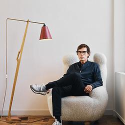 Pierre Yovanovitch, Interior Designer, posing at his main headquarters. Paris, France. September 3, 2019.  <br /> Pierre Yovanovitch, Architecte d'intérieur, prenant la pose dans ses bureaux. Paris, France. 3 septembre 2019.