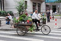 cactus seller on large bike in Shanghai China