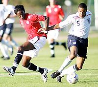 Fotball , <br /> Soccer , <br /> Landskamp gutter 16 G16, <br /> Nordisk gutteturnering i Sverige , <br /> 31.07.08 , Strömsvallen stadion i Strömstad , <br /> England - Norge , <br /> England - Norway , <br /> Mushaga Bakenga Norge , <br /> Jak Alnwick England , <br /> Foto: Thomas Andersen / Digitalsport