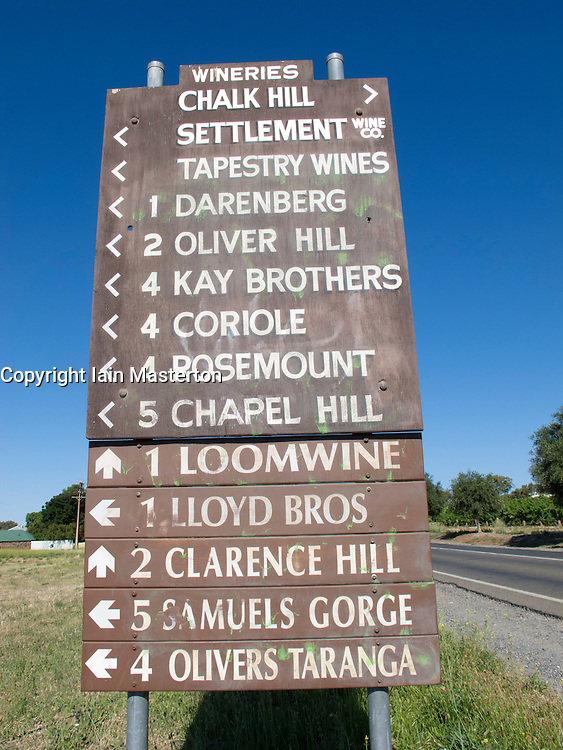 Detail of winery direction signs  at Mclaren Vale near Adelaide in South Australia