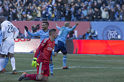 March 11, 2018 - New York, New York, United States - Goalkeeper David Bingham (1) of LA Galaxy allows goal by Anton Tinnerholm (3) of NYC FC during regular MLS game at Yankee stadium NYC FC won 2 - 1  (Credit Image: © Lev Radin/Pacific Press via ZUMA Wire)