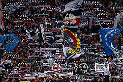 Eintracht Frankfurt fans wave flags, banners and scarves at the end of the UEFA Europa League Semi final, first leg match at The Frankfurt Stadion, Frankfurt.