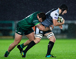 Morgan Morris of Ospreys under pressure from Dominic Robertson-McCoy of Connacht<br /> <br /> Photographer Simon King/Replay Images<br /> <br /> Guinness PRO14 Round 6 - Ospreys v Connacht - Saturday 2nd November 2019 - Liberty Stadium - Swansea<br /> <br /> World Copyright © Replay Images . All rights reserved. info@replayimages.co.uk - http://replayimages.co.uk