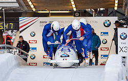 19.01.2020, Olympia Eiskanal, Innsbruck, AUT, BMW IBSF Weltcup Bob und Skeleton, Igls, Bob Viersitzer, Herren 2. Lauf, im Bild Pilot Romain Heinrich mit Alan, Jordan Bytebier, Jerome Laporal (FRA) // Pilot Romain Heinrich with Lionel Lefebvre Jordan Bytebier Jerome Laporal of France during their 2nd run of four-man Bobsleigh competition of BMW IBSF World Cup at the Olympia Eiskanal in Innsbruck, Austria on 2020/01/19. EXPA Pictures © 2020, PhotoCredit: EXPA/ Peter Rinderer