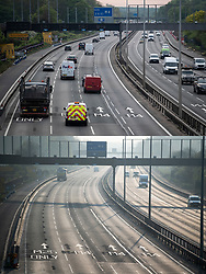 © Licensed to London News Pictures. 27/04/2020. Datchet, UK. Comparison picture showing traffic at Junction 5 of the  M4 at Datchet, Berkshire at 8:00am today (TOP) and at the same time on April 10th (BOTTOM). The public have been told they can only leave their homes when absolutely essential, in an attempt to fight the spread of coronavirus COVID-19 disease. Photo credit: Ben Cawthra/LNP