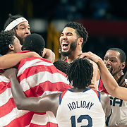 TOKYO, JAPAN August 7: The United States team  celebrate their gold medal win during the France V USA basketball final for men at the Saitama Super Arena during the Tokyo 2020 Summer Olympic Games on August 7, 2021 in Tokyo, Japan. (Photo by Tim Clayton/Corbis via Getty Images)