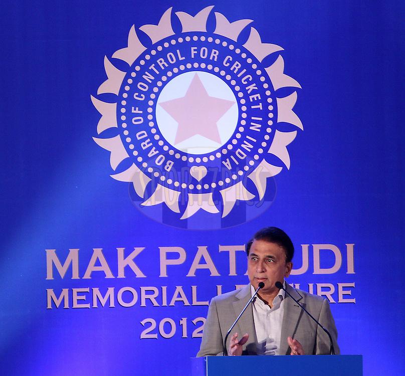 Sunil Gavaskar presents The inaugural Mansoor Ali Khan Pataudi Memorial Lecture delivered by cricketing legend Sunil Gavaskar on Wednesday, 20 February 2013, at the Taj Coromandel, Chennai. India..Photo by Ron Gaunt/BCCI/SPORTZPICS