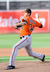 May 5, 2018 - Oakland, CA, U.S. - OAKLAND, CA - MAY 05: Baltimore Orioles starting pitcher Kevin Gausman (34) during the regular season game between the Oakland Athletics and the Baltimore Orioles on May 5, 2018 at Oakland-Alameda County Coliseum in Oakland,CA (Photo by Samuel Stringer/Icon Sportswire) (Credit Image: © Samuel Stringer/Icon SMI via ZUMA Press)