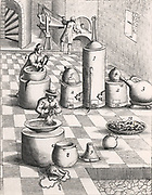 Recovery of gold from amalgum. 7) chamois leather bag for separating amalgum from excess mercury. 6) Operator with wooden pestel and mortar for purifying mercury with salt. 4,5) Earthenware and iron retorts for distilling mercury from amalgum. From 1683 English edition of Lazarus Ercker 'Beschreibung allerfurnemisten mineralischen Ertzt- und Berckwercksarten'  originally published in Prague in 1574. Copperplate engraving.