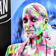 Graftobian make-up Company artist De Maria model Raquel Pintado Rosa  demo at IMATS London on 18 May 2019,  London, UK.