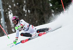 """Christian Hirschbuehl (AUT) competes during 1st Run of FIS Alpine Ski World Cup 2017/18 Men's Slalom race named """"Snow Queen Trophy 2018"""", on January 4, 2018 in Course Crveni Spust at Sljeme hill, Zagreb, Croatia. Photo by Vid Ponikvar / Sportida"""