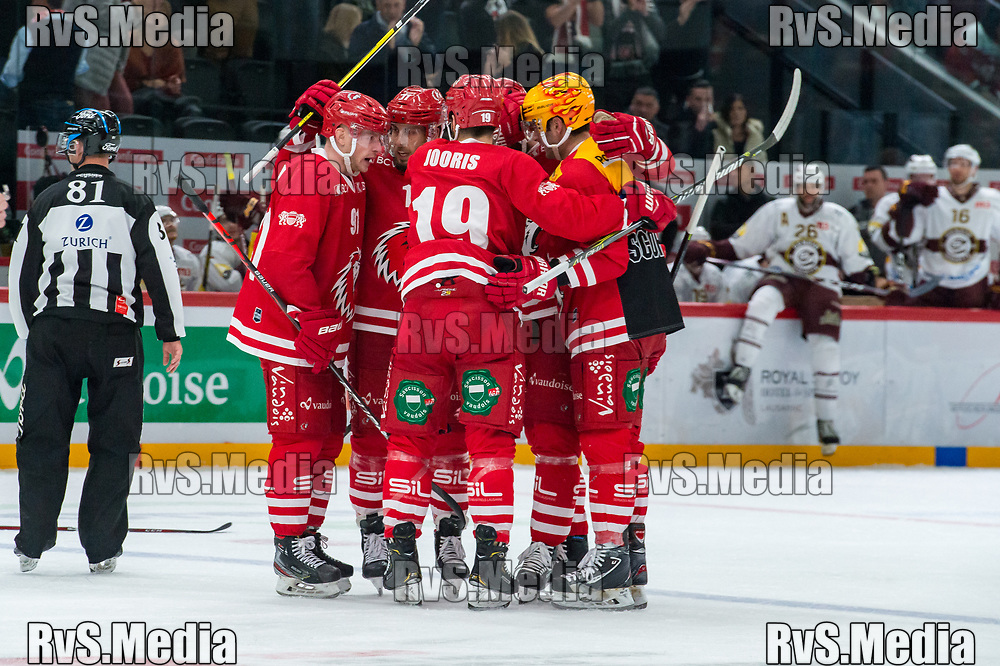 LAUSANNE, SWITZERLAND - NOVEMBER 23: #11 Yannick Herren of Lausanne HC celebrates his goal with teammates during the Swiss National League game between Lausanne HC and Geneve-Servette HC at Vaudoise Arena on November 23, 2019 in Lausanne, Switzerland. (Photo by Robert Hradil/RvS.Media)