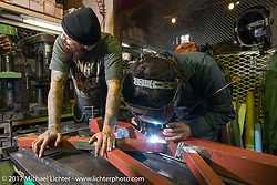 "Cristian Sosa building one of his power hammers with Kaichiroh ""Kross"" Kurosu for Kross' Cherry's Company shop. Tokyo, Japan. Thursday December 7, 2017. Photography ©2017 Michael Lichter."