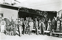 1913 CB DeMille (center) with cast & crew of The Squaw Man at the Jesse Lasky Feature Play Co. in Hollywood