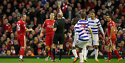 10.12.2011, Anfield Stadion, Liverpool, ENG, PL, FC Liverpool vs Queens Park Rangers, 15. Spieltag, im Bild Liverpool's Daniel Agger is being shown the yellow card by the referee during the Premiership match against Queens Park Rangers at Anfield the football match of English premier league, 15th round, between FC Liverpool and Queens Park Rangers at Anfield Stadium, Liverpool, United Kingdom on 2011/12/10. EXPA Pictures © 2011, PhotoCredit: EXPA/ Propagandaphoto/ David Rawcliff..***** ATTENTION - OUT OF ENG, GBR, UK *****