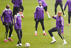 Manchester City's Samri Nasri and Vincent Kompany during the training session at the Etihad Campus ahead of the UEFA Champions League second leg match against FC Barcelona - Photo mandatory by-line: Matt McNulty/JMP - Mobile: 07966 386802 - 17/03/2015 - SPORT - Football - Manchester - Etihad Campus - Barcelona v Manchester City - UEFA Champions League
