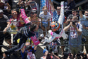 Helio Castroneves of Brazil celebrates after winning the Indianapolis 500 auto race at Indianapolis Motor Speedway in Indianapolis, Sunday, May 30, 2021. (AJ Mast via AP Images)