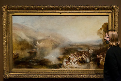 "© Licensed to London News Pictures. 26/10/2020. LONDON, UK. ""The Opening of the Wallhalla"", 1842, by JMW Turner. Preview of ""Turner's Modern World"", a new landmark exhibition of over 150 works exhibition by JMW Turner at Tate Britain, 28 October to 7 March 2021.  Photo credit: Stephen Chung/LNP"