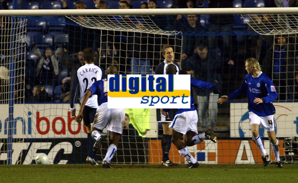 Photo: Chris Ratcliffe.<br /> Leicester City v Tottenham Hotspur. The FA Cup.<br /> 08/01/2006.<br /> Elvis Hammond (C) scores for Leicester