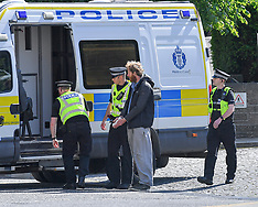 Climate change protesters blockade Scottish Parliament, Edinburgh, 18 June 2019