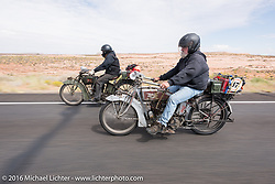 Utahns Rick Salisbury (R) and Kyle Rose of Utah ride their 1916 Excelsiors during the Motorcycle Cannonball Race of the Century. Stage-11 ride from Durango, CO to Page, AZ. USA. Wednesday September 21, 2016. Photography ©2016 Michael Lichter.
