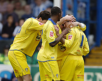 Photo: Olly Greenwood.<br />Colchester United v Leeds United. Coca Cola Championship. 09/04/2007. Leeds' Eddie Lewis celebrates scoring with his team mates