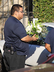"EXCLUSIVE: Florist delivers a huge orchid arrangement to Playboy Mansion which was sent by Jessica Hahn. The card reads, ""Dear Hef, You changed my life. I love you. -Jessica Hahn"". 28 Sep 2017 Pictured: flower delivery. Photo credit: APEX / MEGA TheMegaAgency.com +1 888 505 6342"