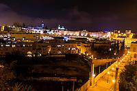 City Walls of the Old City at night, Jerusalem, Israel.