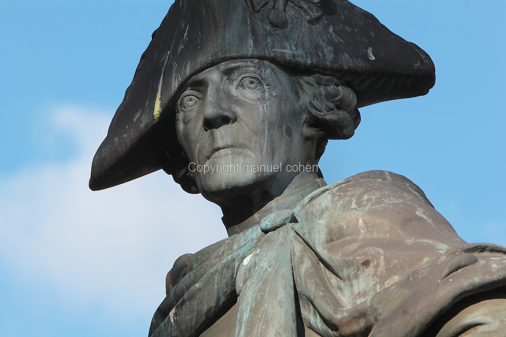 Statue of Friedrich II of Prussia or Frederick the Great at the Schloss Charlottenburg or Charlottenburg Palace, built 1695-1713 by Johann Arnold Nering in Baroque and Rococo style, Charlottenburg, Charlottenburg-Wilmersdorf, Berlin, Germany. The original palace was commissioned by Sophie Charlotte, the wife of Friedrich III, Elector of Brandenburg and later Friedrich I of Prussia. Prussian rulers occupied the palace until the late 19th century. After being badly damaged in the war, the palace was restored and is now a major tourist attraction. Picture by Manuel Cohen
