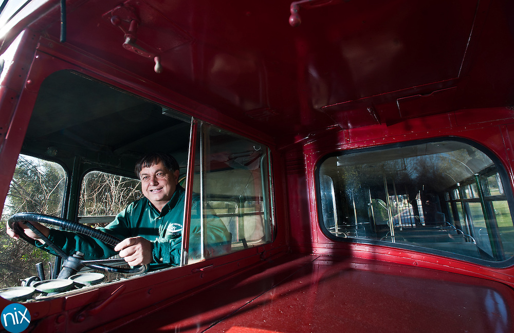 Jimmy Morrison, owner of Morrison Motors and a museum just north of Charlotte Motor Speedway,  just sold a double-decker bus that's been at the museum for nearly 20 years. The buyer, from New Mexico, plans to dirve the bus across thr country. (Photo by James Nix)