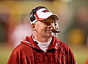 Nov 12, 2011; Fayetteville, AR, USA; Arkansas Razorback head coach Bobby Petrino walks down the sidelines during the second half of a game against the Tennessee Volunteers at Donald W. Reynolds Razorback Stadium. Mandatory Credit: Beth Hall-US PRESSWIRE