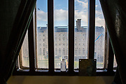 A view of Nelson block from Cell number 3's window, from the 4th floor on Benbow wing inside HMP/YOI Portland, a resettlement prison with a capacity for 530 prisoners. Dorset, United Kingdom.