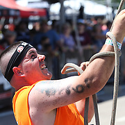 Kristopher Pedersen in action at the Herculean Hoist  obstacle during the Reebok Spartan Race. Mohegan Sun, Uncasville, Connecticut, USA. 28th June 2014. Photo Tim Clayton