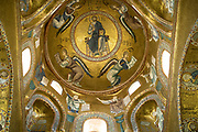 Ornate dome in The Martorana Church, the Church of St Mary of the Admiral in Piazza Bellini, Palermo, Sicily