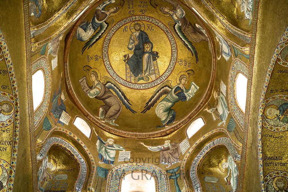 Ornate dome in The Martorana Church, the Church of St Mary of the Admiral in Piazza Bellini, Palermo, Sicily
