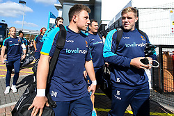 Duncan Weir and Jack Singleton of Worcester Warriors arrive at Sandy Park for the Premiership fixture against Exeter Chiefs - Mandatory by-line: Robbie Stephenson/JMP - 29/09/2018 - RUGBY - Sandy Park Stadium - Exeter, England - Exeter Chiefs v Worcester Warriors - Gallagher Premiership Rugby