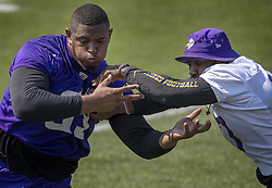 August 2, 2017 - Mankato, MN, USA - Minnesota Vikings offensive lineman Rashod Hill (69) blocked Everson Griffen (97) during the morning practice. ......  .. ] CARLOS GONZALEZ •   cgonzalez@startribune.com - August 2, 2017, Mankato, MN, Minnesota State University Mankato, Minnesota Vikings Training Camp, NFL  (Credit Image: © Carlos Gonzalez/Minneapolis Star Tribune via ZUMA Wire)