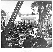 brave medical officers left behind to tend to the wounded that were abandoned by General Magruder at Savage Station on June 29th. from the book ' The Civil war through the camera ' hundreds of vivid photographs actually taken in Civil war times, sixteen reproductions in color of famous war paintings. The new text history by Henry W. Elson. A. complete illustrated history of the Civil war